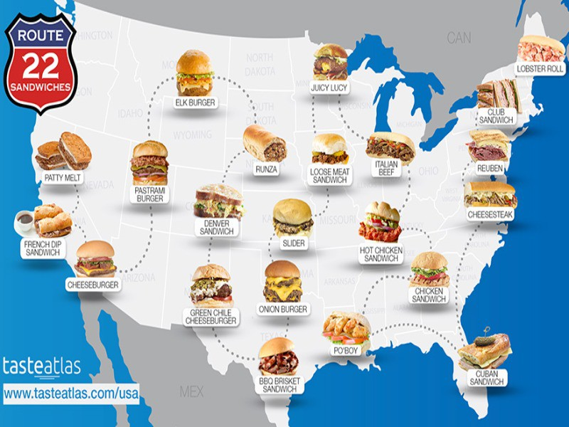 Map of best sandwiches in America