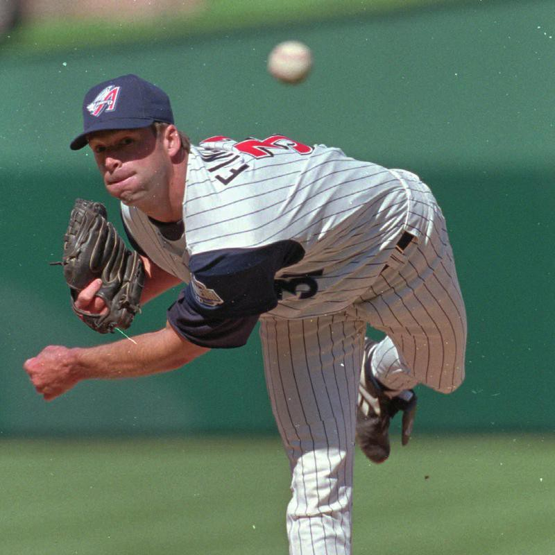 Anaheim Angels' pitcher Chuck Finley delivers a pitch