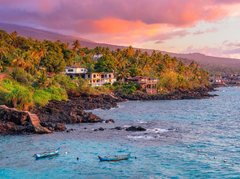Sunset at beach on Grand Comore island in Comoros