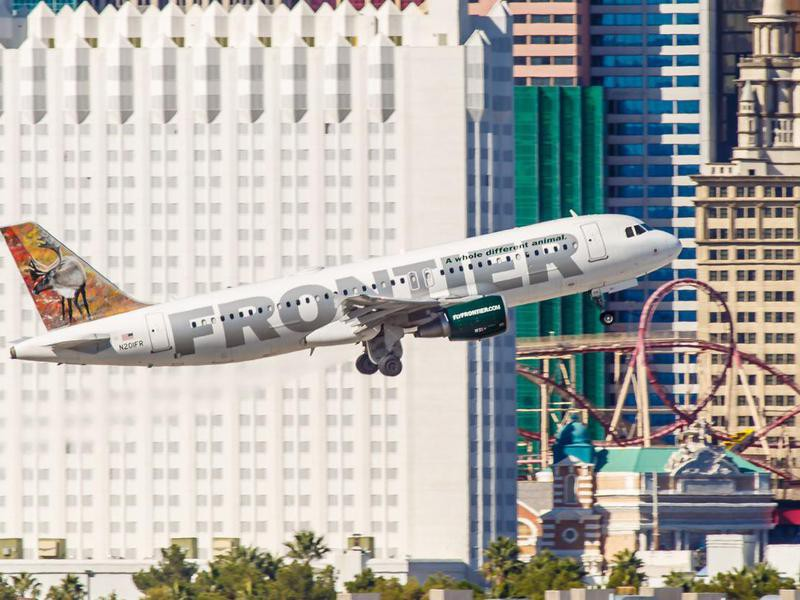 Frontier Airlines airplane takes off from McCarran Airport