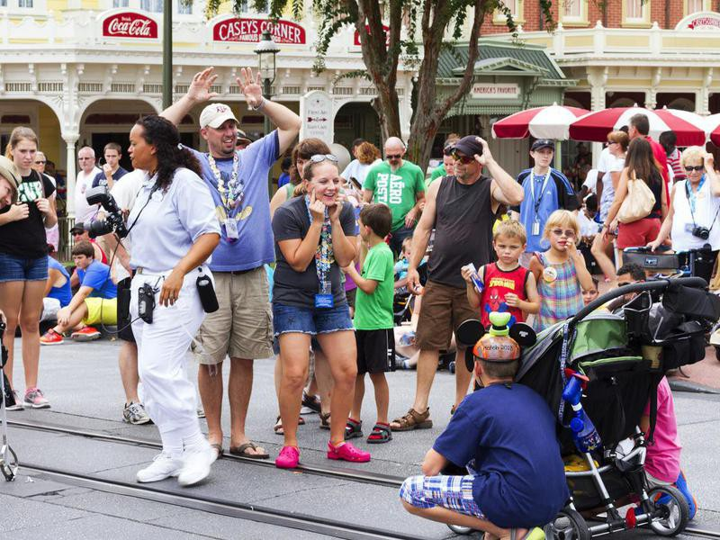 Parents with small children at Disneyland