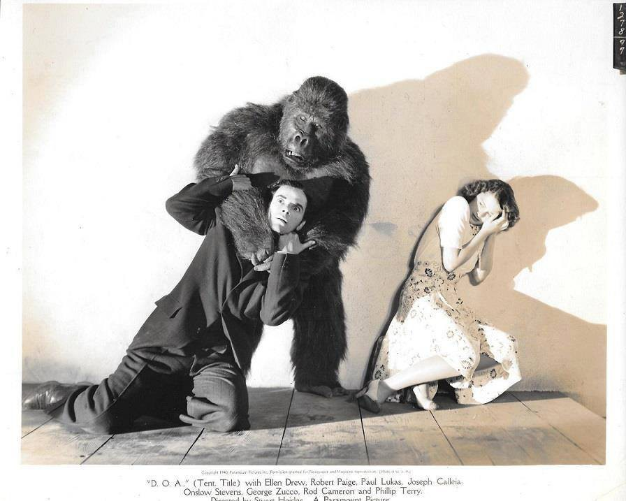 """A production still of Ellen Drew, Charles Gemora and Phillip Terry in """"The Monster and the Girl"""""""