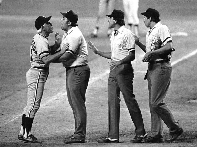 Sparky Anderson held by umpire Greg Kosc