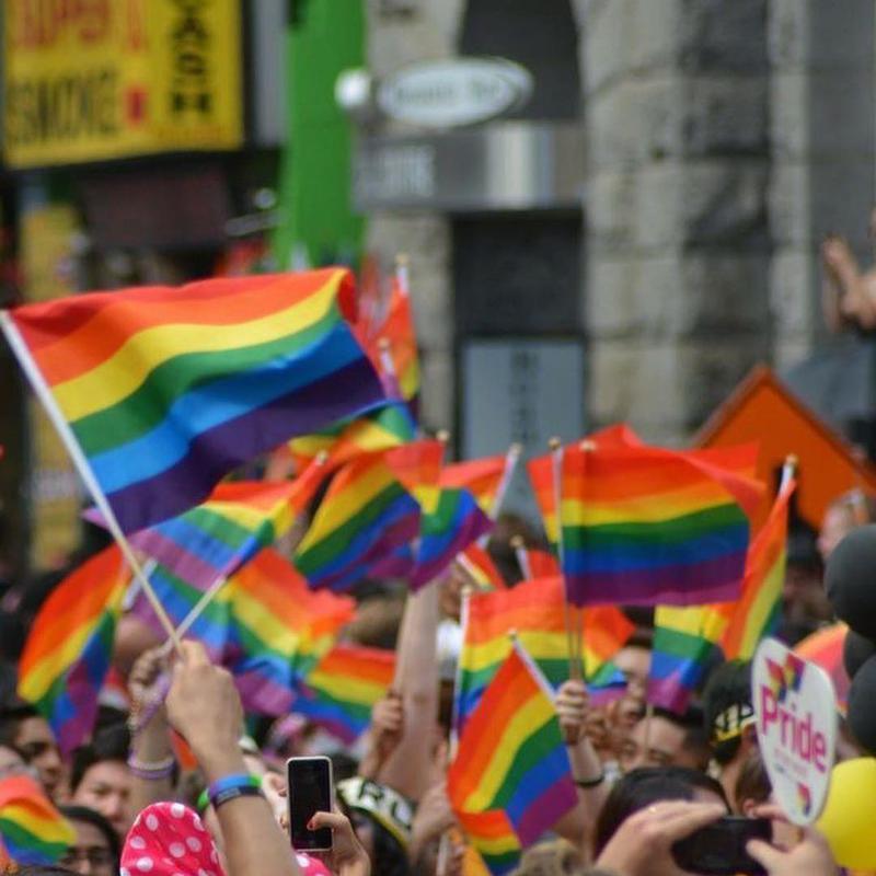 Gay flags at Sao Paulo pride