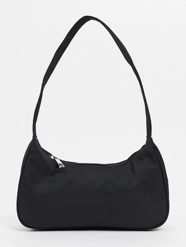 Asos nylon curved 90s shoulder bag in black