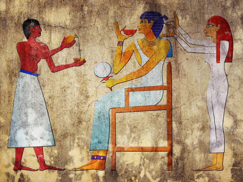 Ancient art depicting an Egyptian hairdresser