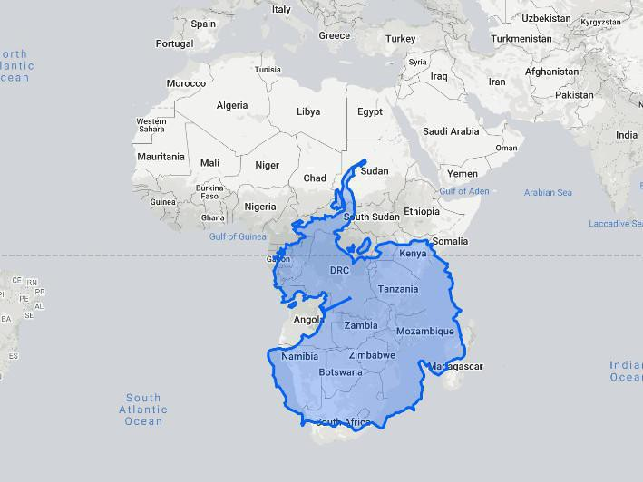 Antarctica compared to Africa