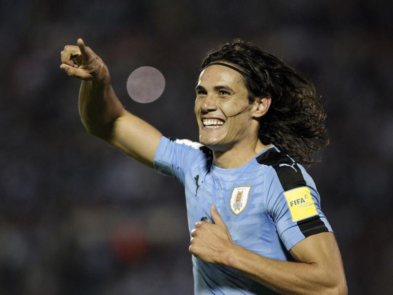 Uruguay's Edinson Cavani celebrates after scoring against Venezuela during a 2018 World Cup qualifying match.