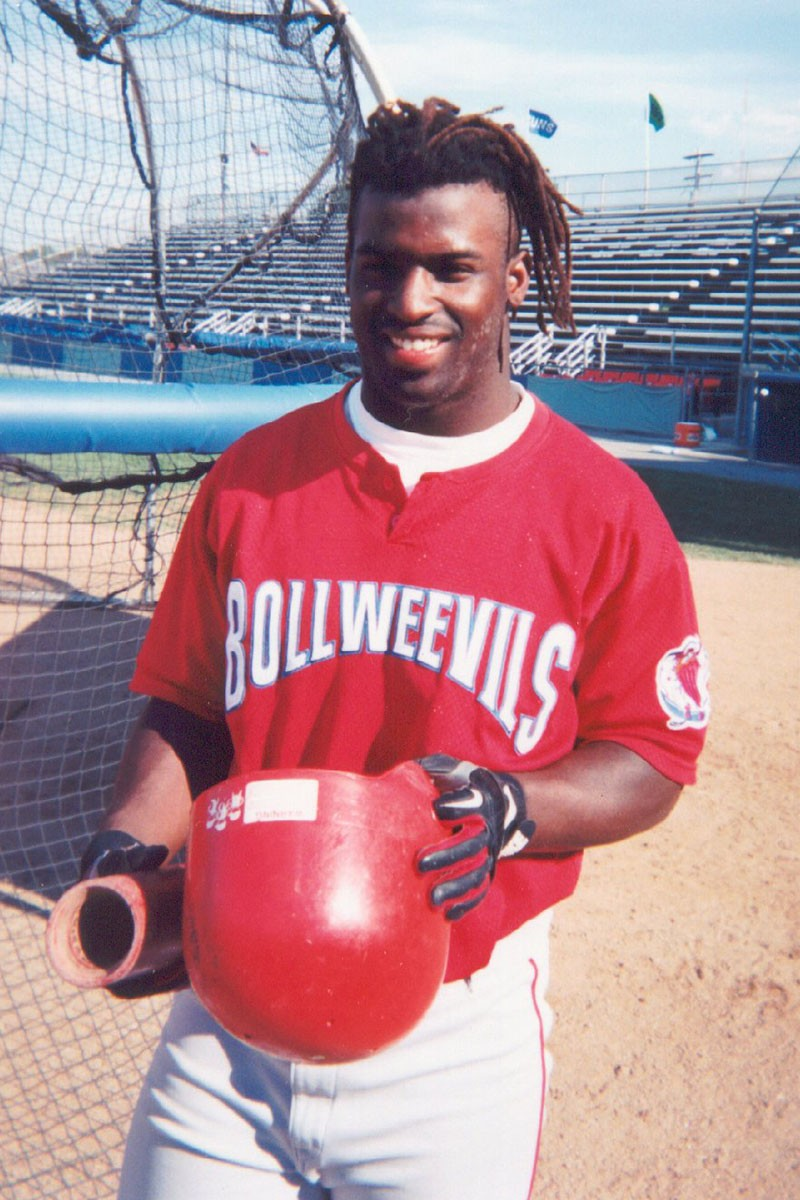 Ricky Williams wearing a Piedmont Boll Weevils jersey