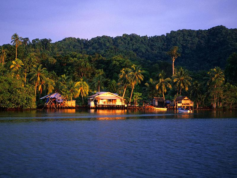Traditional house in Solomon Islands in the mountains