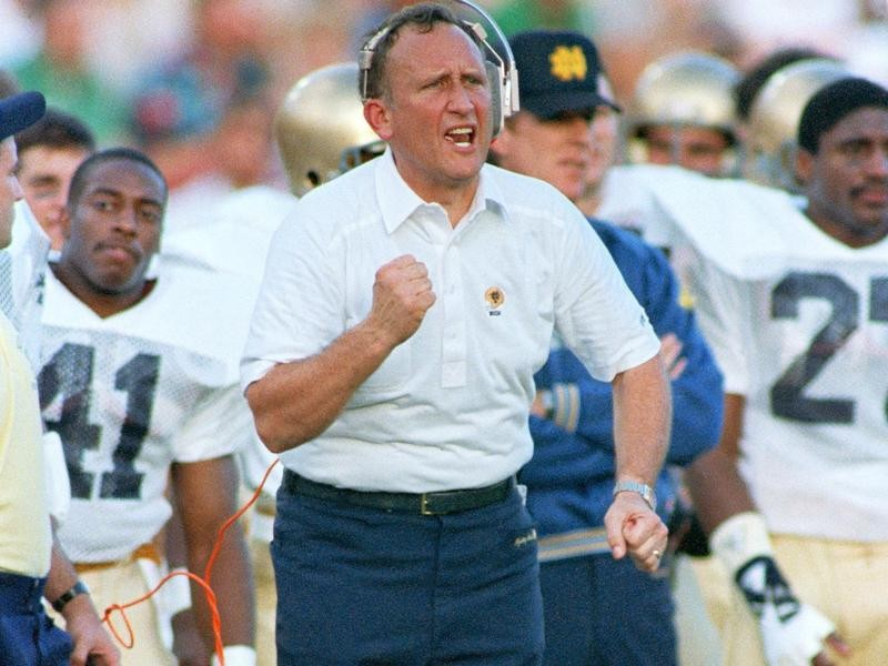 Notre Dame head coach Gerry Faust
