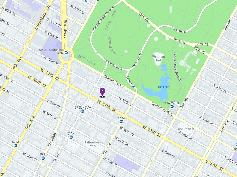 Map of One57 in Manhattan