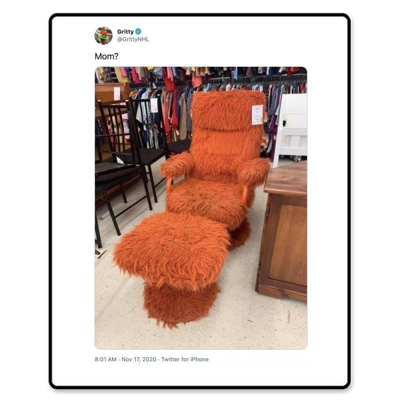 Gritty's tweet about a chair hat has the same texture