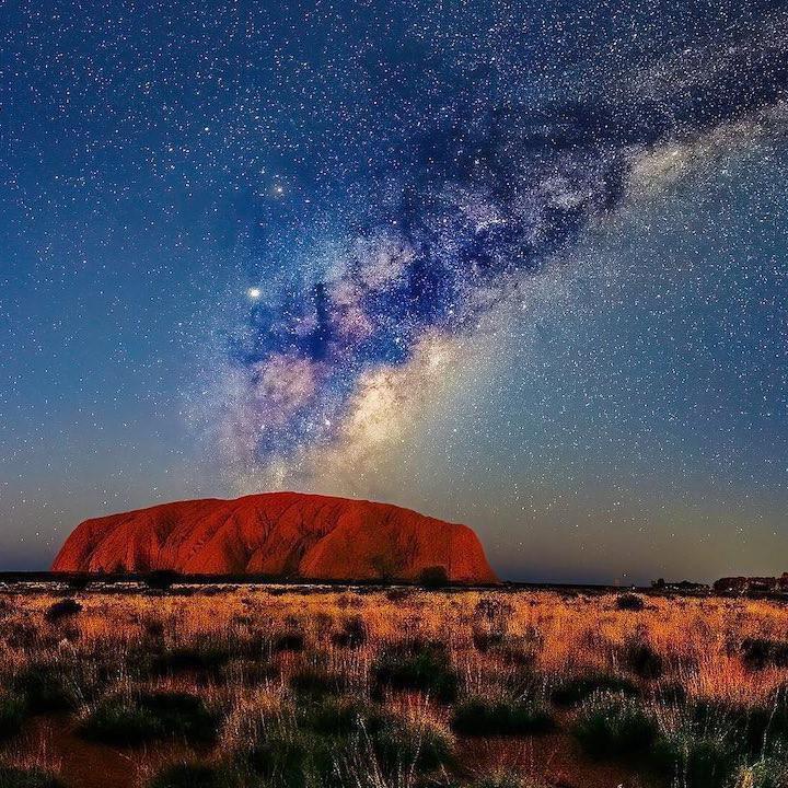 Uluru rock at night