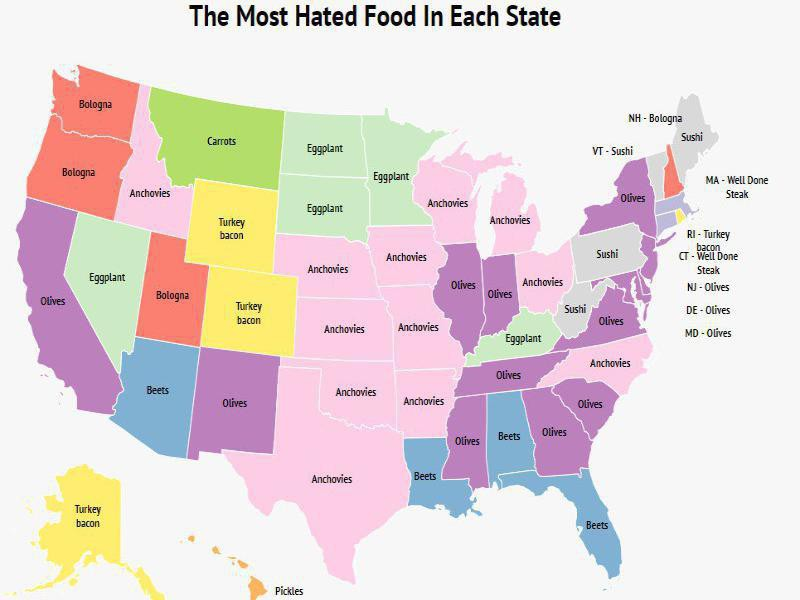 Map of most hated foods in America