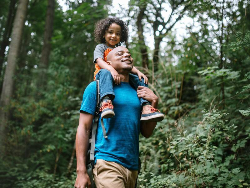 Father and son hiking in Washington State