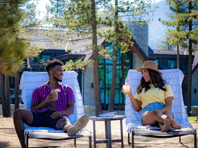 Guests enjoying Lake Tahoe eco resort