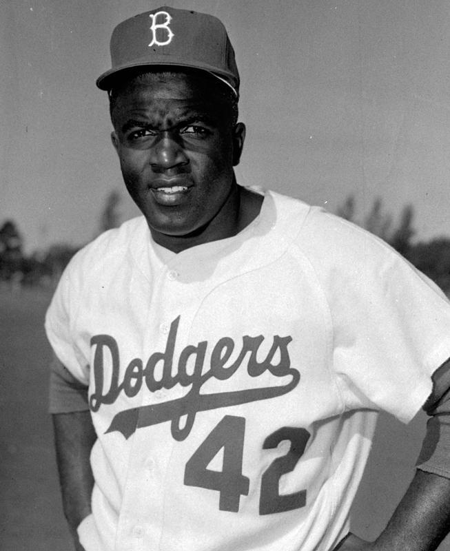 Brooklyn Dodgers baseball player Jackie Robinson in portrait