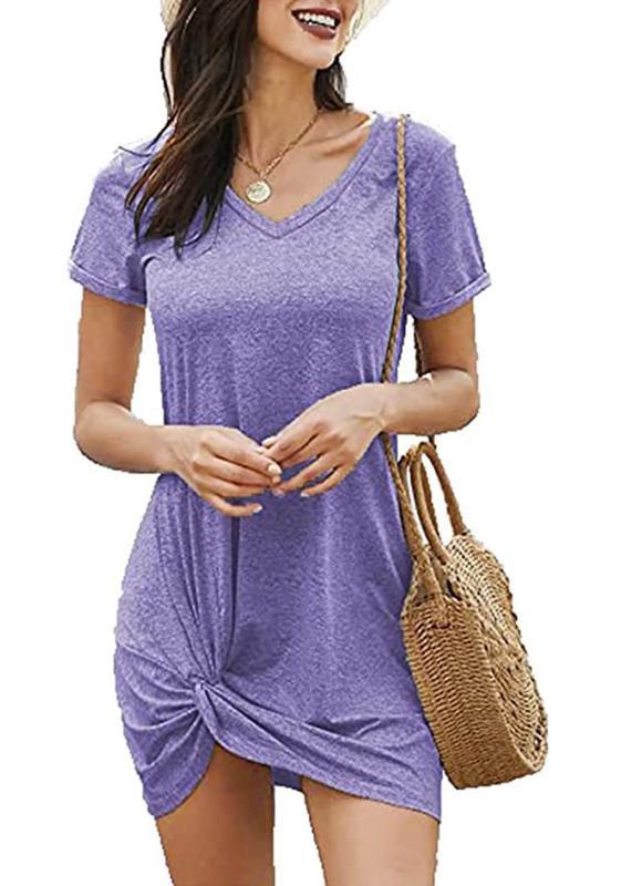 Locryz Women's Summer Twist Knot T-Shirt Dress