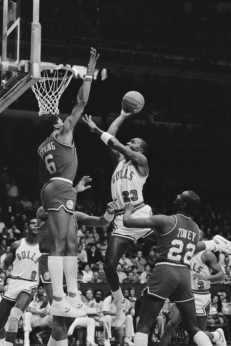 Julius Erving and Michael Jordan