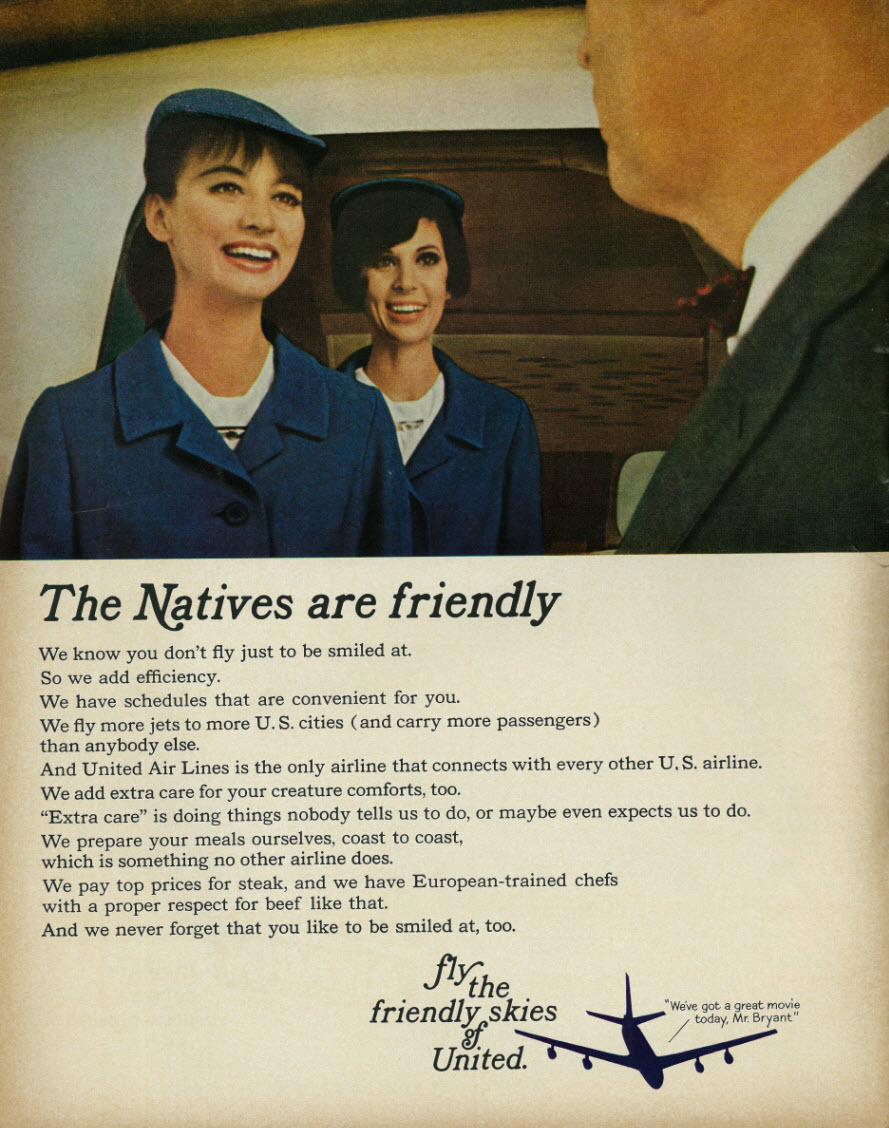 United travel ad in 1965