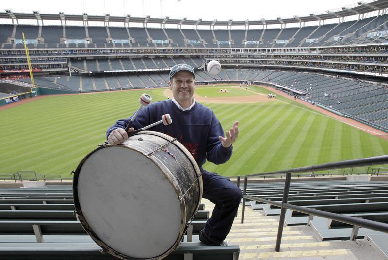 John Adams poses with drum