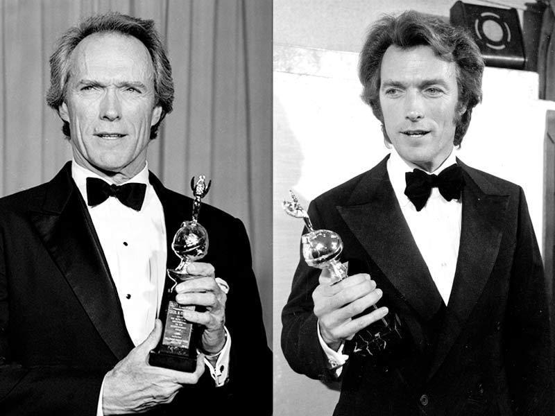 Clint Eastwood holds his two of his Golden Globe Awards, one the Cecil B. DeMille award he received in 1988 (left), and the other he won in 1978 for World Film Favorite, Male.