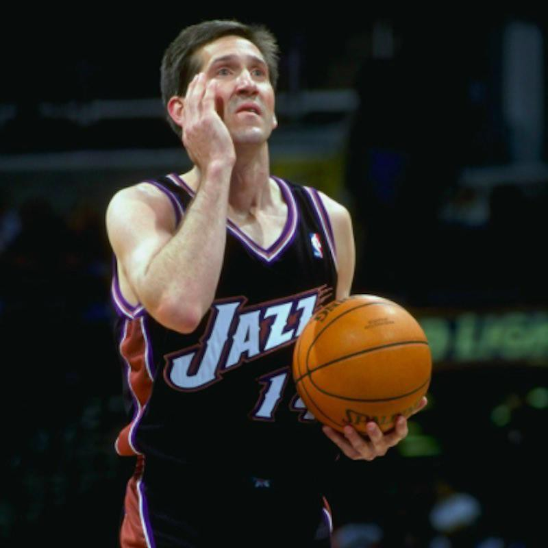Jeff Hornacek touches face before free throw
