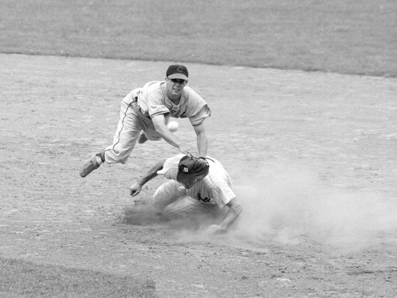 Ray Boone makes double play at second base against New York Yankees