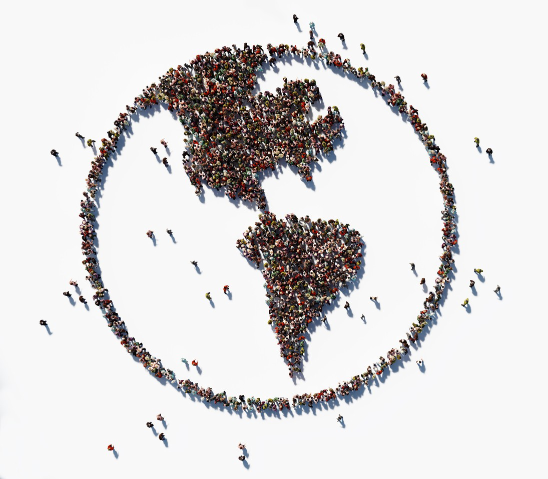 Human crowd forming world symbol
