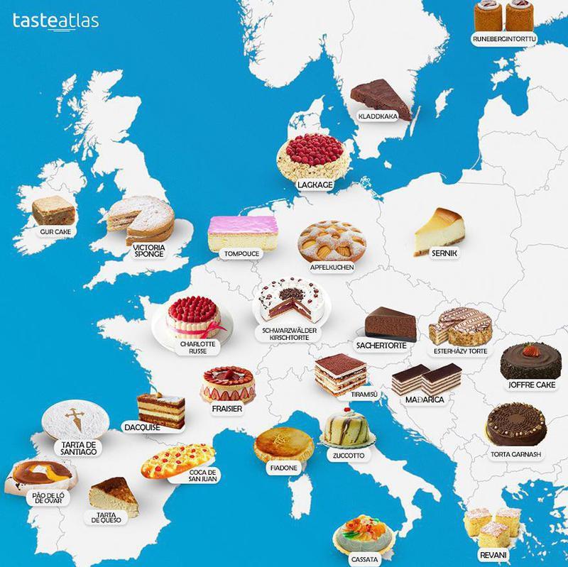 Dessert map of Europe