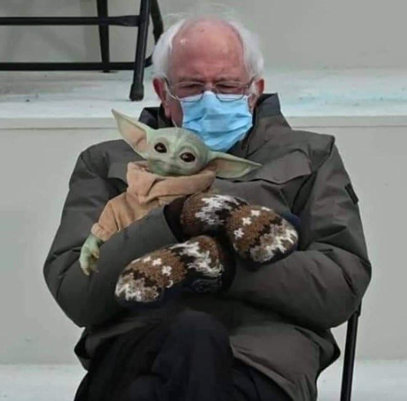 Bernie Sanders and Baby Yoda