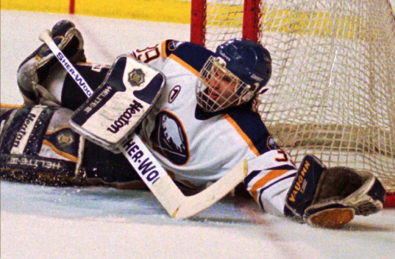 Dominik Hasek blocks shot against Pittsburgh Penguins