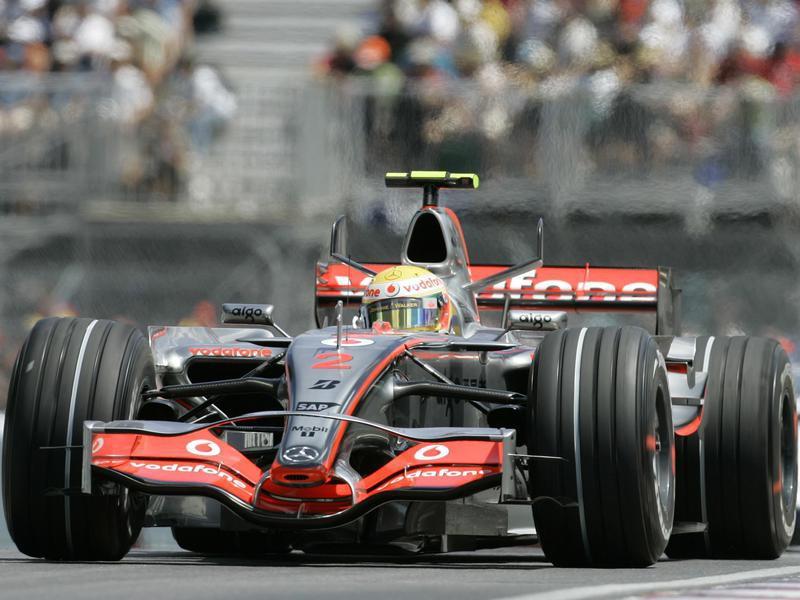 Lewis Hamilton steers his car