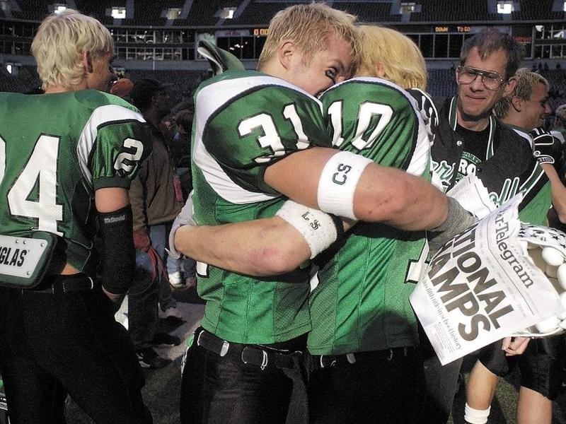 Southlake Carroll High School football players celebrate