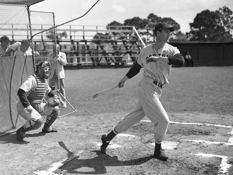 Ted Williams swinging at Spring Training