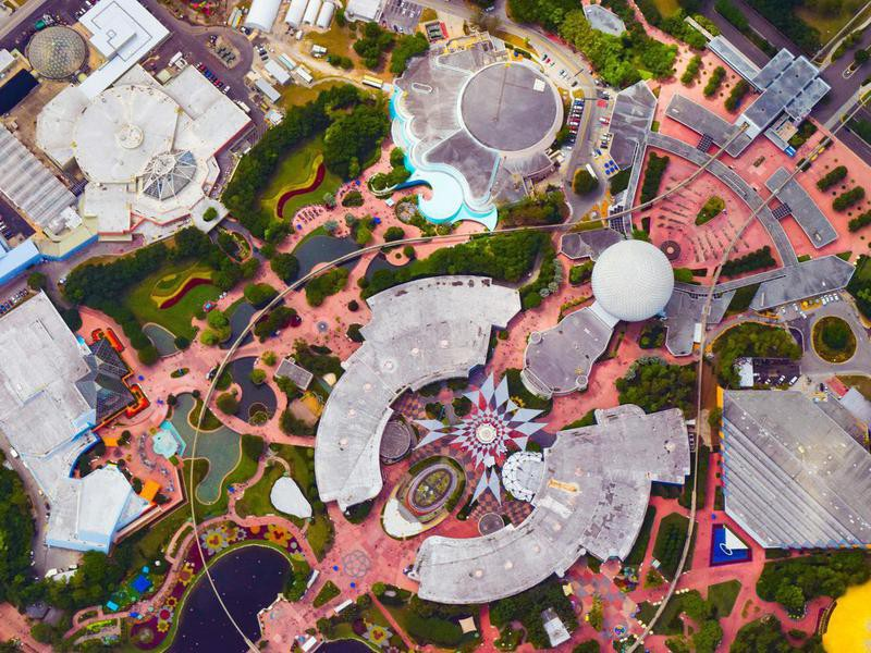 Aerial view of Epcot
