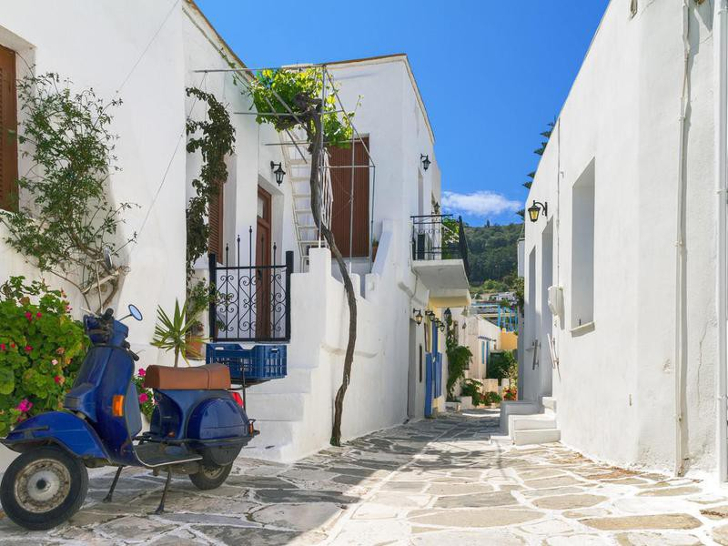 Narrow street in Parikia, Paros, Greece