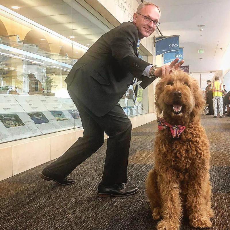 Man photobombing dog