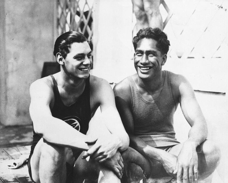 Johnny Weissmuller, left, with Duke Kahanamoku at the 1924 Olympics in Paris