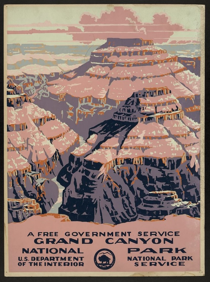 Vintage travel poster for the Grand Canyon
