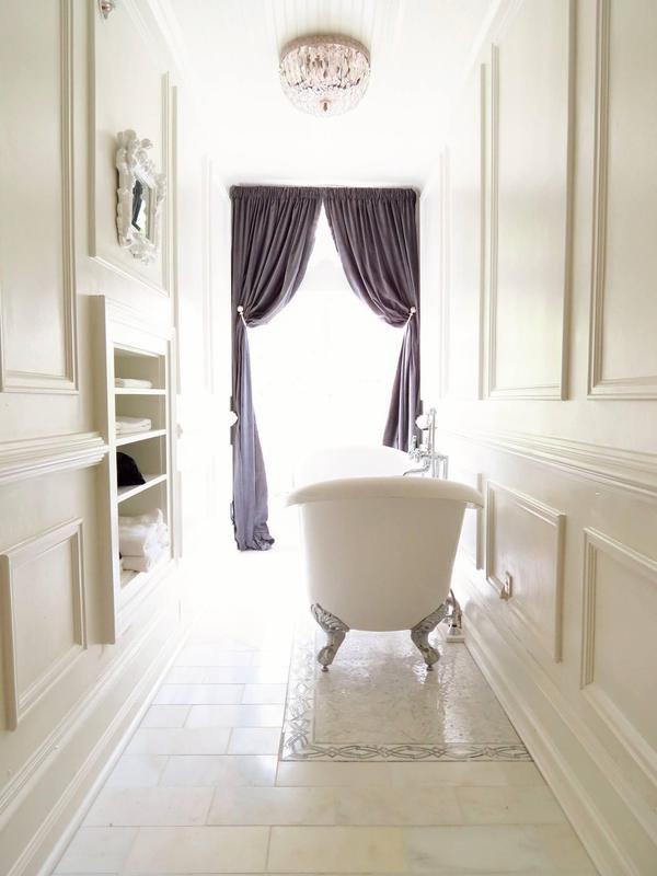 Long bathroom with soaking tub
