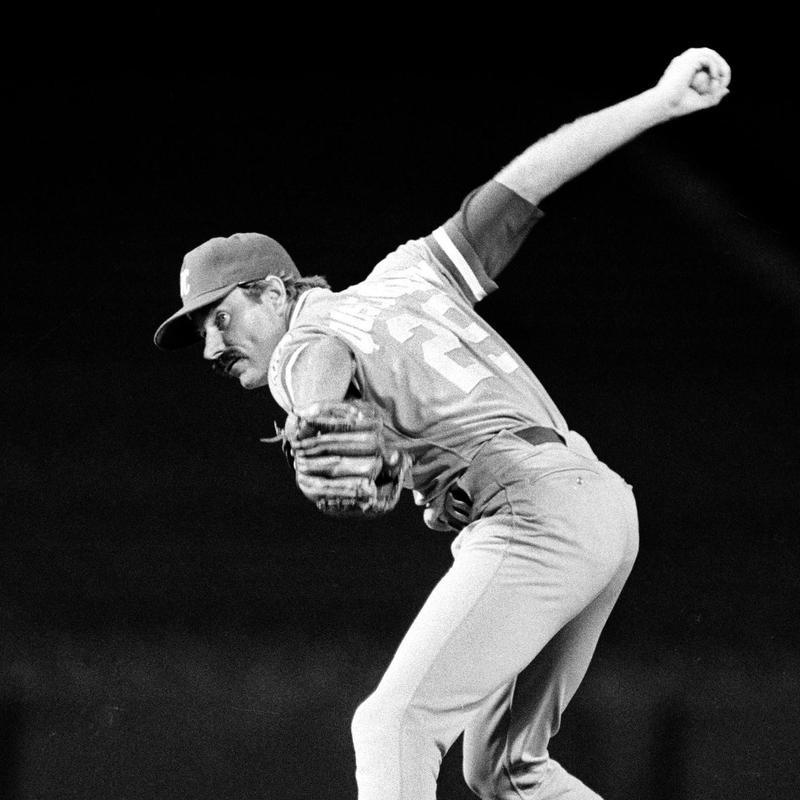 Kansas City Royals' relief pitcher Dan Quisenberry strikes out