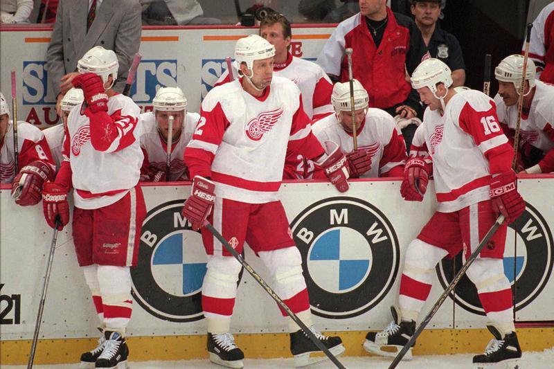 Detroit Red Wings winger Bob Errey and defensemen Viacheslav Fetisov and Vladimir Konstantinov