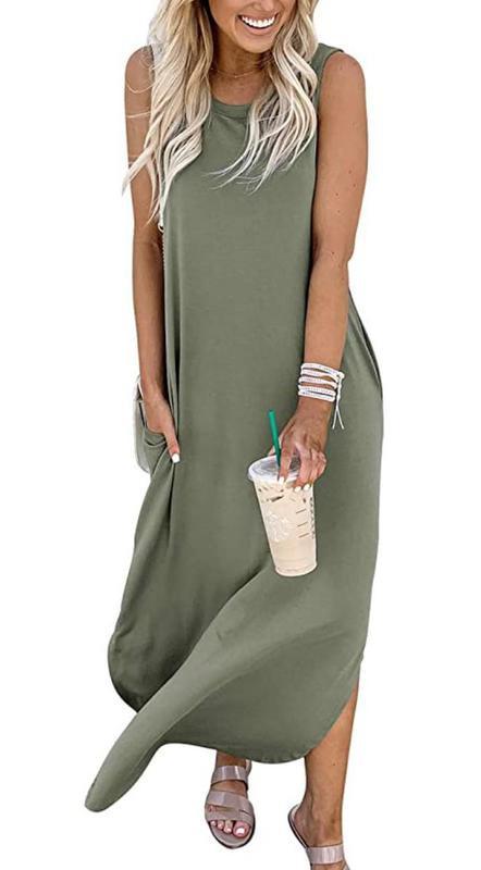Anrabess Women's Casual Loose Pocket Long Dress