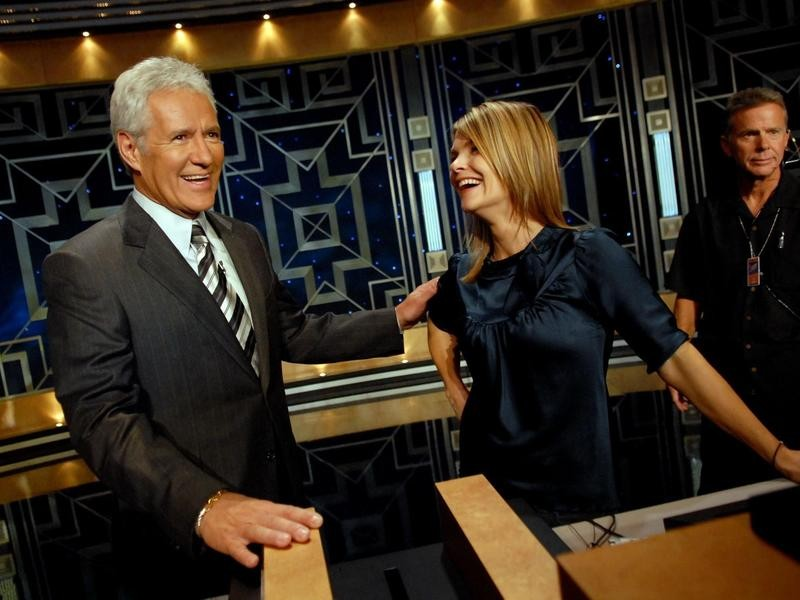 Alex Trebek with actress Kathryn Erbe in 2006