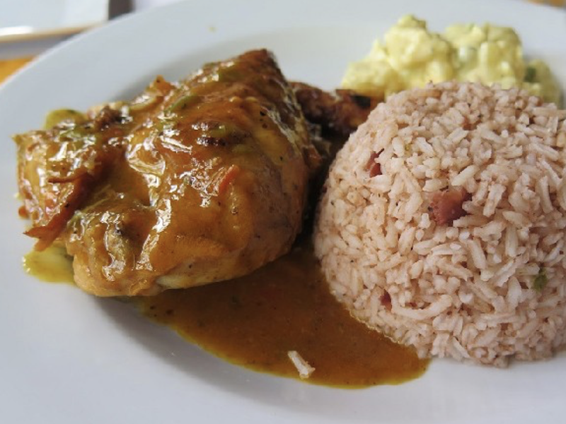 Rice, beans and chicken