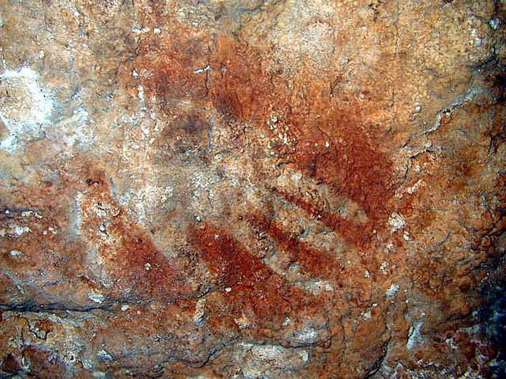 Cave art in the Cave of Maltravieso, Spain