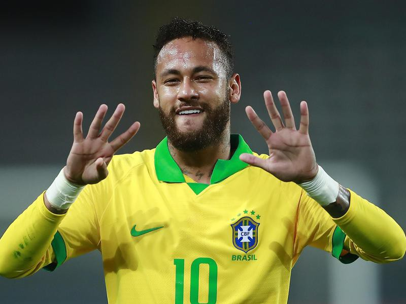 Brazil's Neymar celebrates after scoring penalty goal