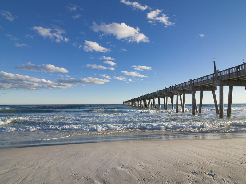 Waves hit Pensacola Pier